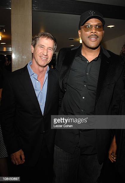 """Lionsgate's Jon Feltheimer and writer/director Tyler Perry arrive to the premiere of """"Why Did I Get Married?"""" at the Cinerama Dome on October 4, 2007..."""