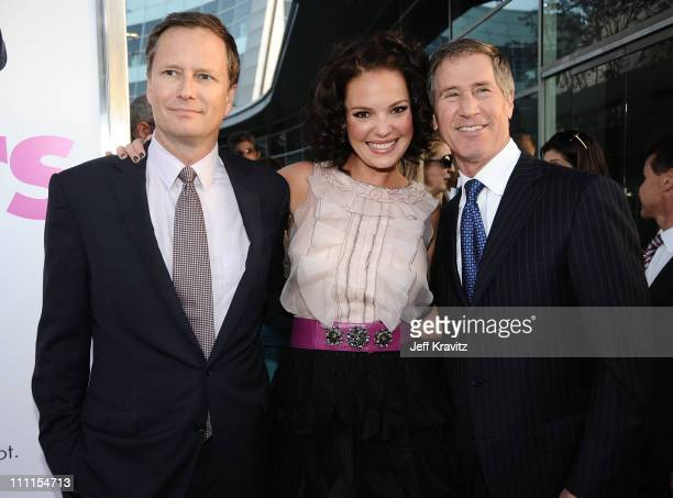 """Lionsgate's Michael Burns, Actress Katherine Heigl and Lionsgate CEO Jon Feltheimer arrive at the Los Angeles premiere of """"Killers"""" held at ArcLight..."""