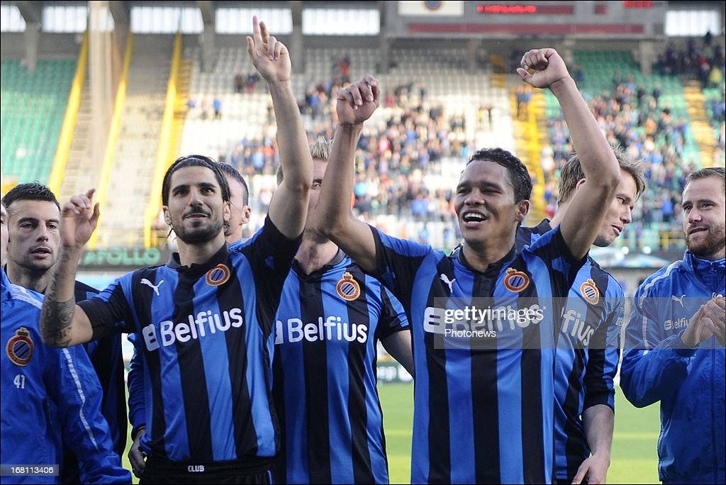 Lior Refaelov (centre L), Carlos Bacca (centre R) and Club Brugge KV team-mates celebrate during the Jupiler Pro League play-off 1 match between Club Brugge and Sporting Lokeren on May 5, 2013 in Brugge, Belgium.