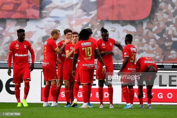 Lior Refaelov midfielder of Antwerp celebrates scoring a goal with teammates pictured during the jupiler pro league match between Royal Antwerp fc...