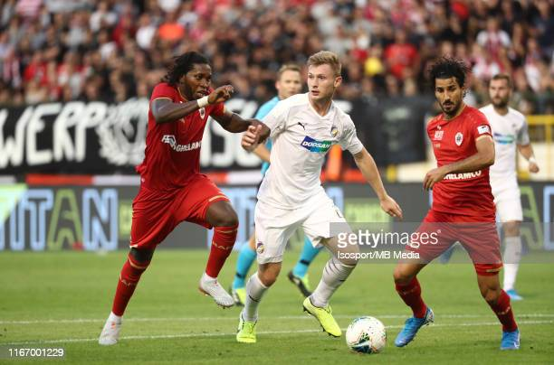 Lior Refaelov of Antwerp battles for the ball with Dieumerci Mbokani of Antwerp and Jakub Brabec of Plzen during the UEFA Europa League third...