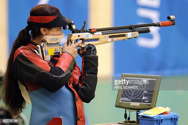 Lioubov Galkina of Russia aims her rifle during the women's 10m Air Rifle competition of the 2008 Beijing Olympic Games on August 9 2008 in Beijing...