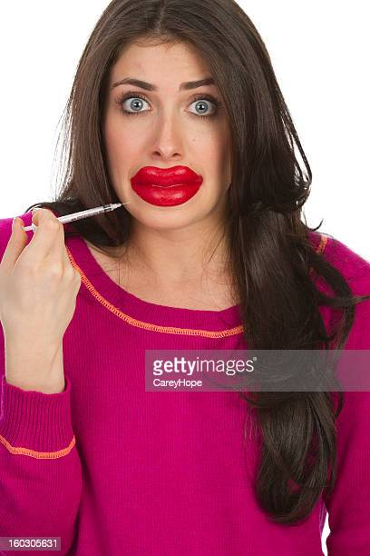 lip injections - big lips stock photos and pictures