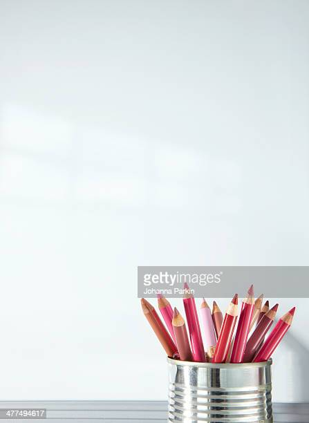 lip pencils against a whiteboard - lip liner stock photos and pictures
