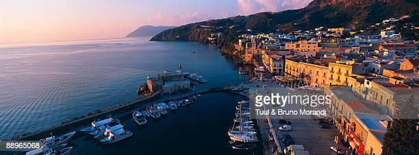 Lipari city at Lipari Island, Eolie Island, Sicily