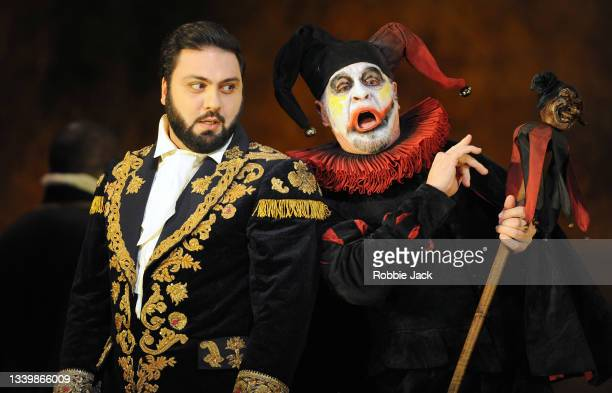 Liparit Avetisyan as Duke of Mantua and Carlos Alvarez as Rigoletto in Giuseppe Verdi's Rigoletto directed by Oliver Mears and conducted by Antonio...