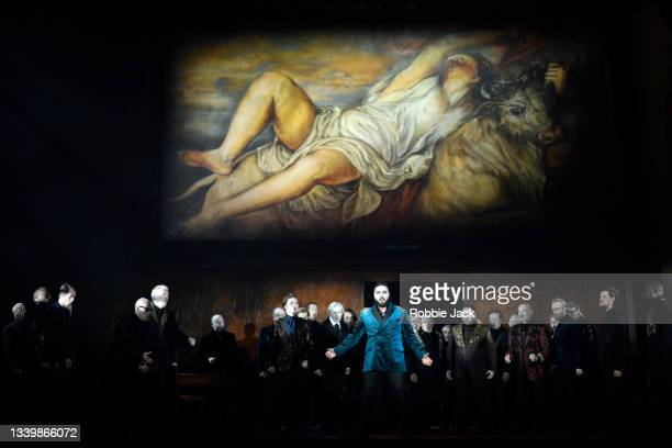 Liparit Avetisyan as Duke of Mantua with artists of the company in Giuseppe Verdi's Rigoletto directed by Oliver Mears and conducted by Antonio...