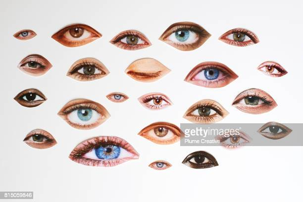 lips eyes comp montage - eye stock pictures, royalty-free photos & images