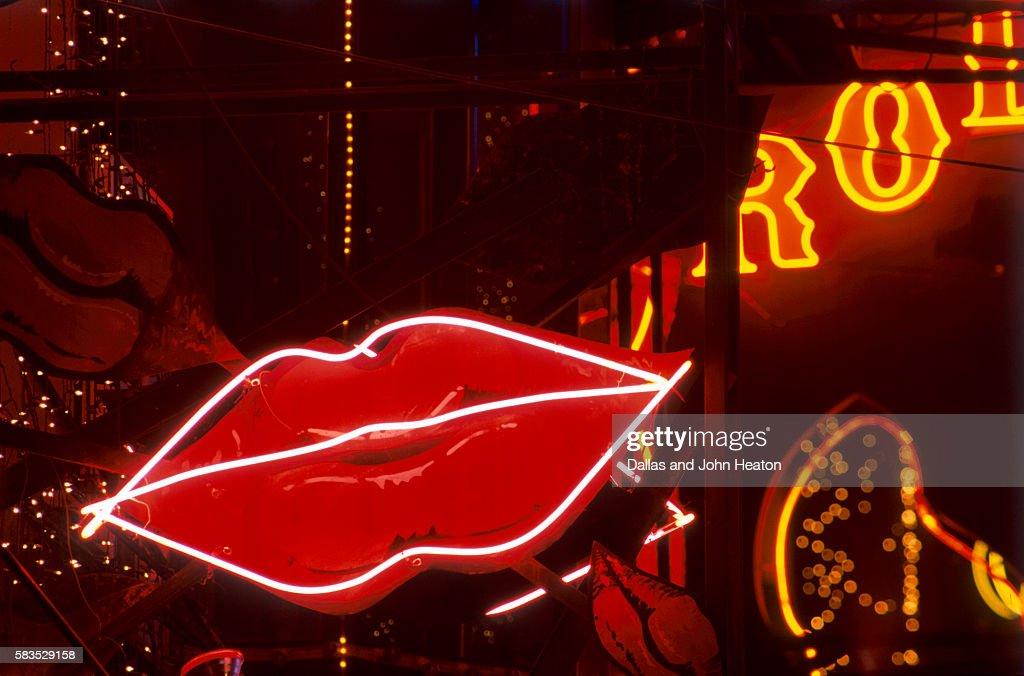 Lips neon sign, Pattaya, Thailand : Stock Photo