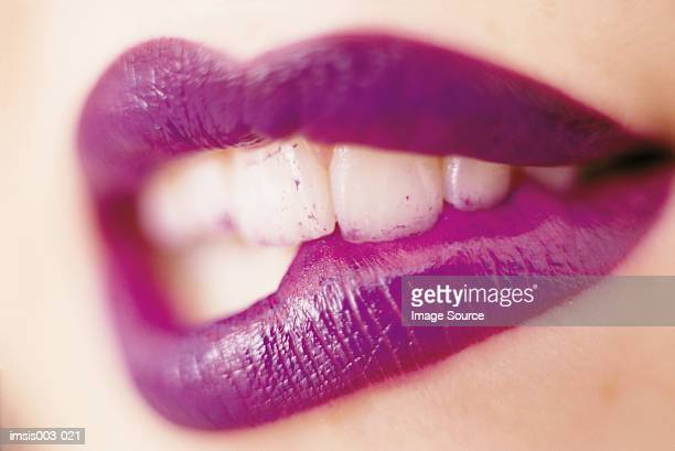 lips - biting lip stock pictures, royalty-free photos & images