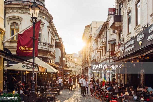 Lipscani street and Old Town in Bucharest, Romania