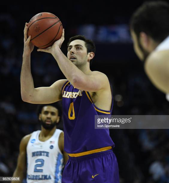 Lipscomb Bisons forward Rob Marberry shoots a free throw during the first round tournament game between the Lipscomb Bisons and the North Carolina...
