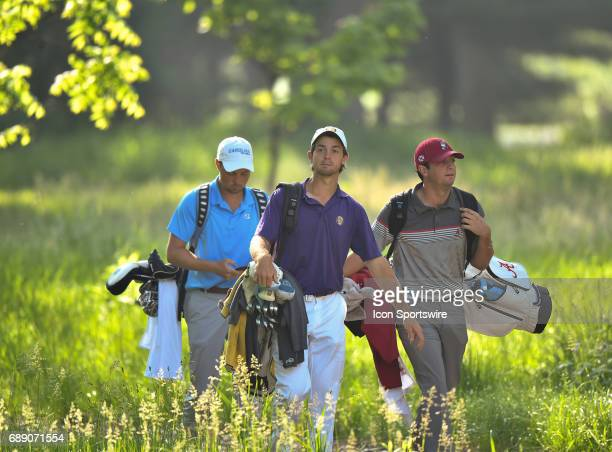 Lipscomb University's Dawson Armstrong, University of Alabama's Davis Riley and North Carolina University's Ben Griffin arriving for tee off for the...