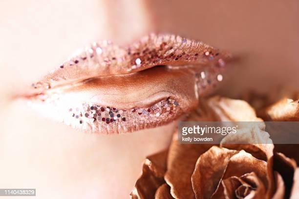 lipstick lips make up rose gold fashion beauty - ローズゴールド ストックフォトと画像