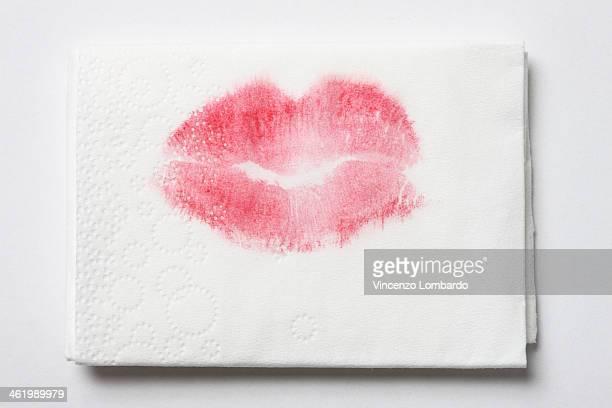 Lipstick mark on tissue
