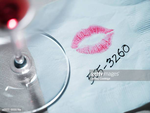 lipstick on napkin - telephone number stock pictures, royalty-free photos & images
