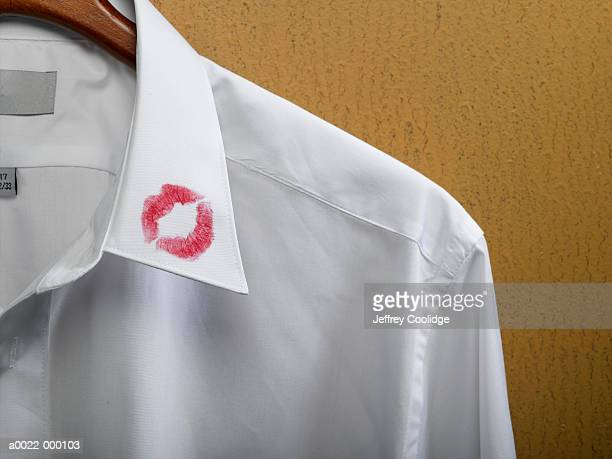 lipstick on shirt collar - collar stock photos and pictures