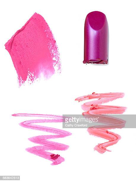 lipstick smears swipes bullets - pink lipstick stock photos and pictures