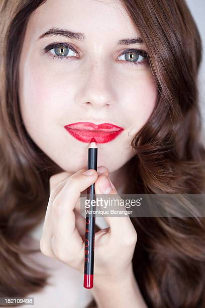 lipstick step by step - lip liner stock photos and pictures