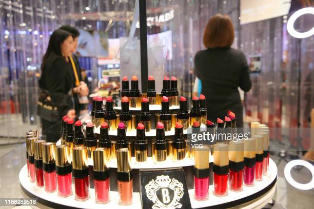 Lipsticks are on display at Estee Lauder booth on day two of the 2nd China International Import Expo at the National Exhibition and Convention Center...