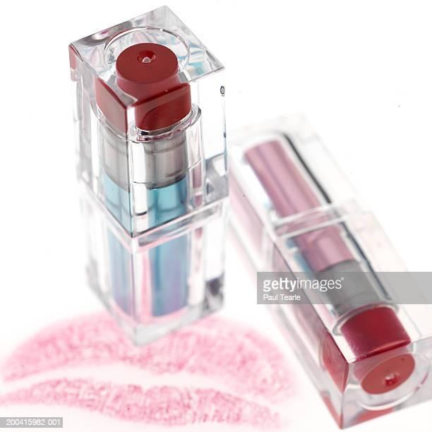 Lipsticks in clear casing, close up