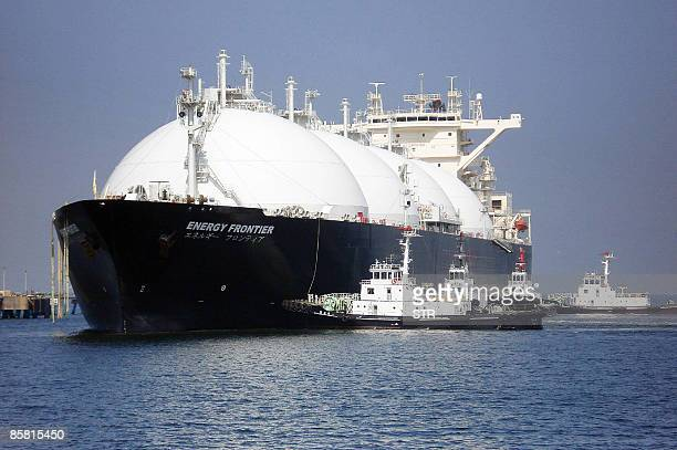 A liquefied natural gas tanker arrives at a gas storage station at Sodegaura city in Chiba prefecture east of Tokyo on April 6 2009 for the first...