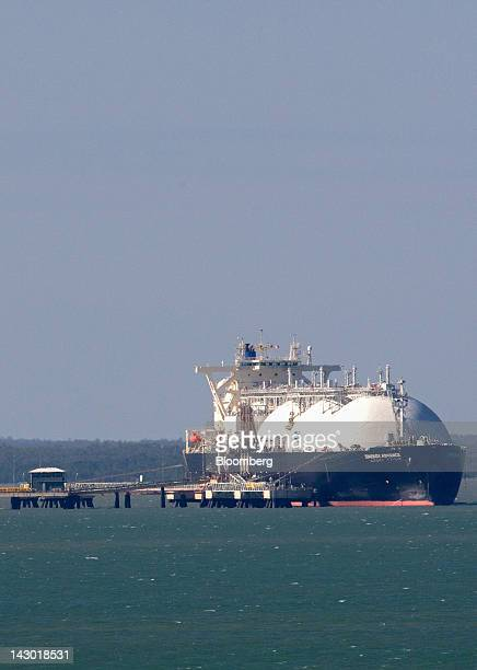 A liquefied natural gas tanker operated by Energy Advance Co a unit of Tokyo Gas Co is moored at ConocoPhillips' LNG facilities in Darwin Australia...