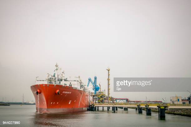 Liquefied natural gas tanker ship Exquisite in the port of Rotterdam