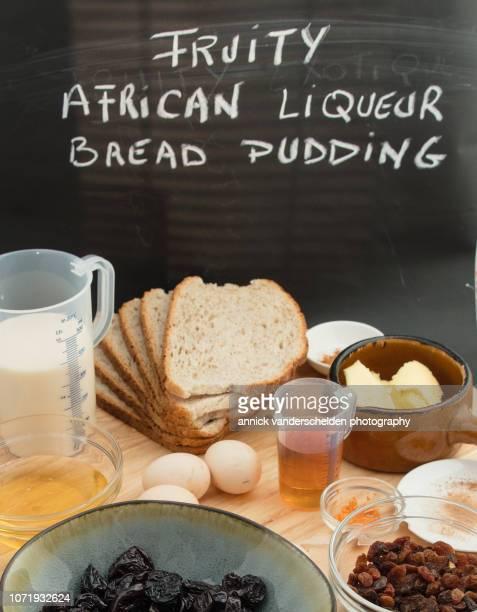 Liqueur bread pudding mise en place