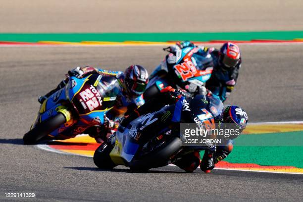 Liqui Moly Intact GP's Swiss rider Thomas Luthi rides ahead of EG 0,0 Marc VDS's British rider Sam Lowes and MB Conveyors Speed Up's Italian rider...