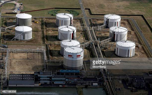 Liquid gas storage tanks stand on the Calor Gas Ltd terminal in this aerial photograph taken over Canvey Island UK on Wednesday July 22 2015 UK...