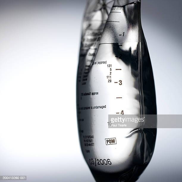 Liquid in saline drip, close up