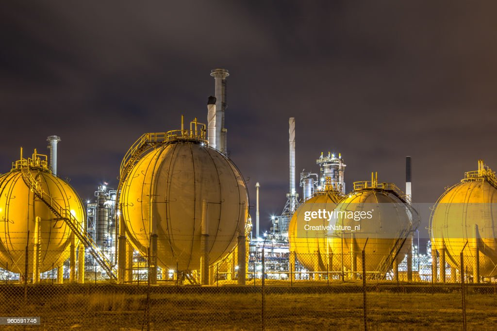 Liquid Natural Gas globe shape containers : Stock Photo