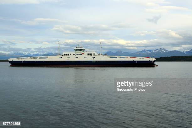 Liquid natural gaspowered RoRo ferry Romsdalsfjord ship operator Fjord1 crossing Moldefjord Molde Romsdal county Norway