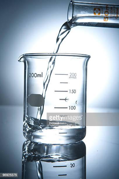 Liquid pouring into a beaker