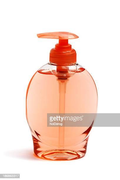 Liquid soap in transparent bottle
