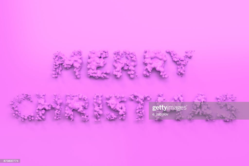 liquid violet merry christmas words with drops on violet background - Merry Christmas Words