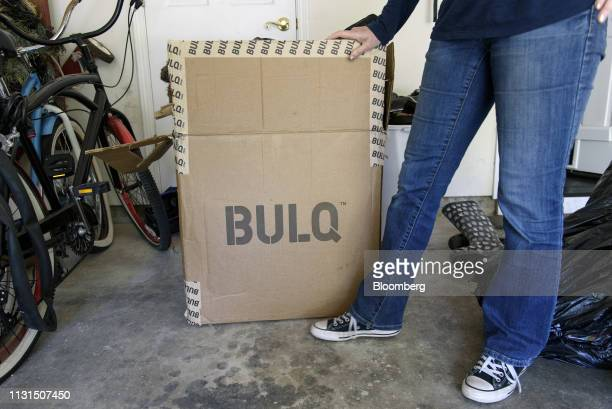 A liquidation reseller stands next to a Bulqcom box at a home in Napa California US on Friday March 11 2019 As overwhelmed retailers search for...
