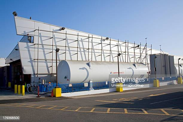 Liquified Natural Gas refueling station at Big Blue Bus Terminal Santa Monica Los Angeles California USA