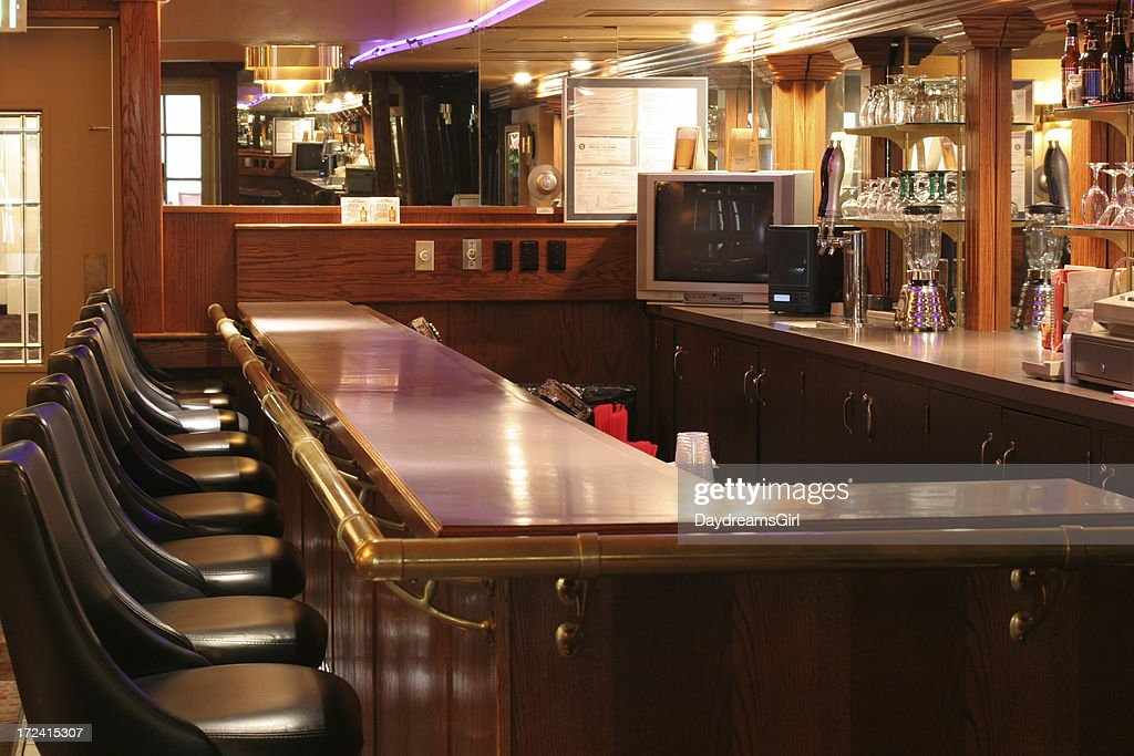 Liquor Bar With Neon Lights And Empty Stools Stock Photo   Getty Images