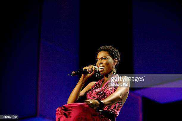 Lira performs on stage at the MTV Africa Music Awards with Zain at the Moi International Sports Centre on October 10 2009 in Nairobi Kenya
