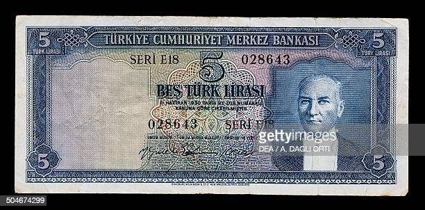 Lirasi banknote, 1960-1969, obverse, portrait of Mustafa Kemal Ataturk . Turkey, 20th century.