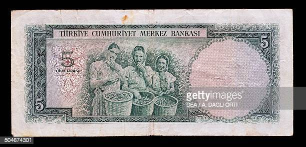 Lirasi banknote, 1960-1969, reverse, three Turkish girls with hazelnut baskets. Turkey, 20th century.
