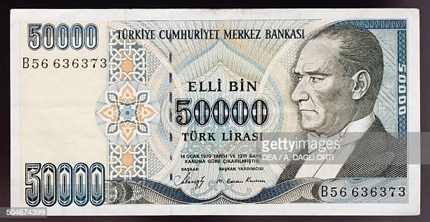 Lirasi banknote, 1990-1999, obverse, portrait of Mustafa Kemal Ataturk . Turkey, 20th century.
