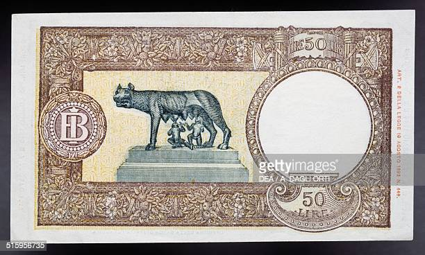 50 lire banknote Capitoline wolf type 19431944 reverse Capitoline wolf type and monogram Bank of Italy 128x75 cm Italy 20th century