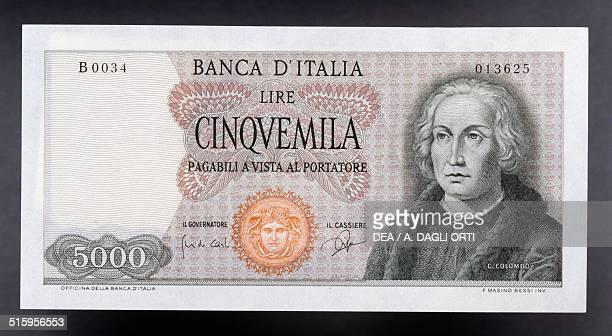 5000 lire banknote Christopher Columbus type obverse Christopher Columbus 142x7 cm Italy 20th century