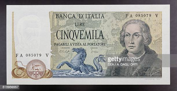 5000 lire banknote Christopher Columbus type with three caravels 19711979 obverse Christopher Columbus Italy 20th century