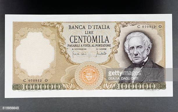 100000 lire banknote Manzoni type 19671979 obverse Alessandro Manzoni Italy 20th century