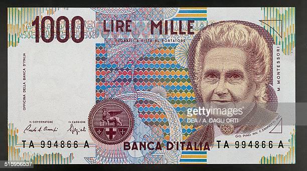 1000 lire banknote Montessori type obverse Maria Montessori 112x62 cm Italy 20th century