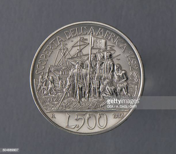 500 lire coin commemorating the fifth centenary of the discovery of America reverse depicting Christopher Columbus meeting the natives Italy 20th...